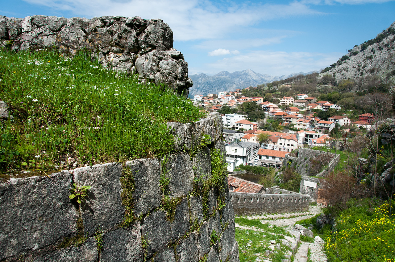 Overlooking view of houses and rooftops in Kotor, Montenegro