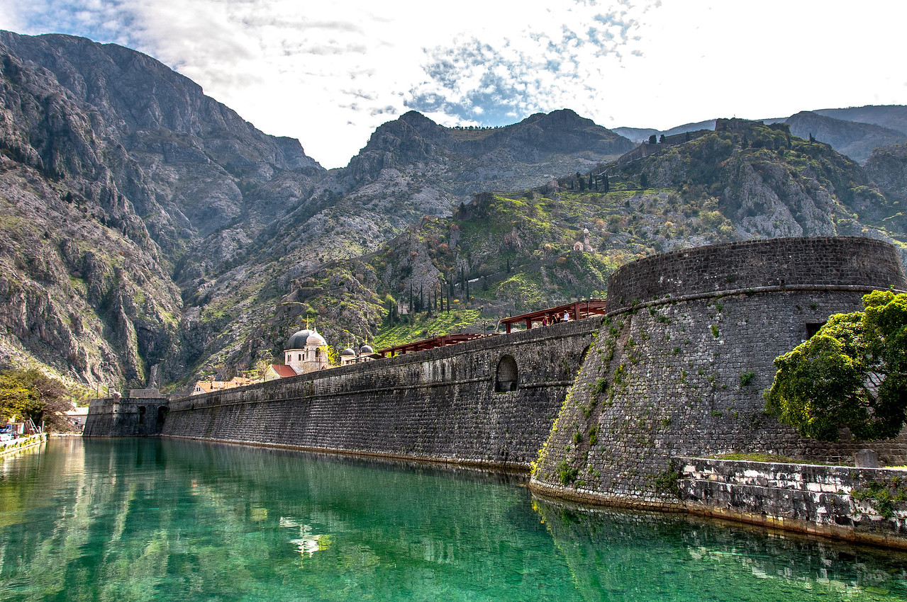 Skurda River and Kotor fortress walls in Kotor, Montenegro
