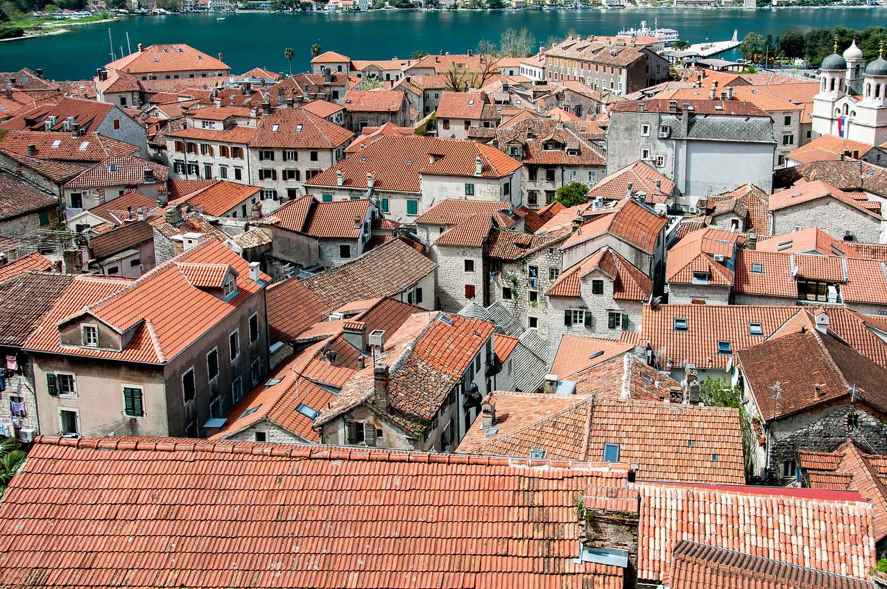 Overlooking view of building rooftops in Kotor, Montenegro