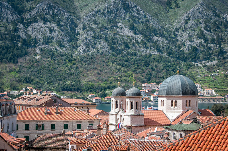 Domes of St. Nicholas church in Kotor, Montenegro