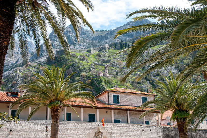 Churches on a hill in Kotor, Montenegro