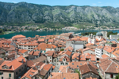 Wide shot of the Kotor Bay and rooftops in Kotor, Montenegro