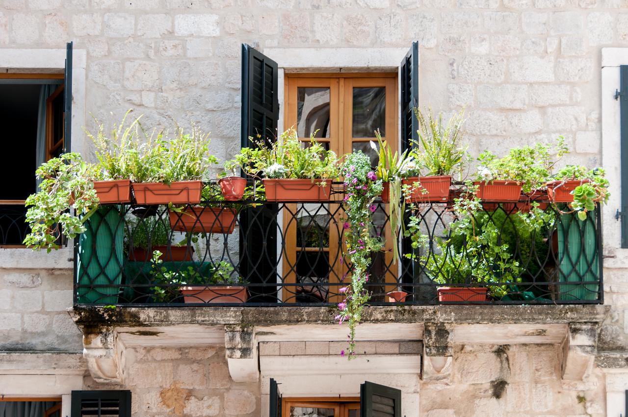 Flower pots in a balcony - Kotor, Montenegro