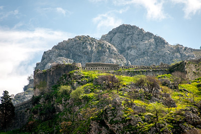 Kotor fortress walls in Montenegro