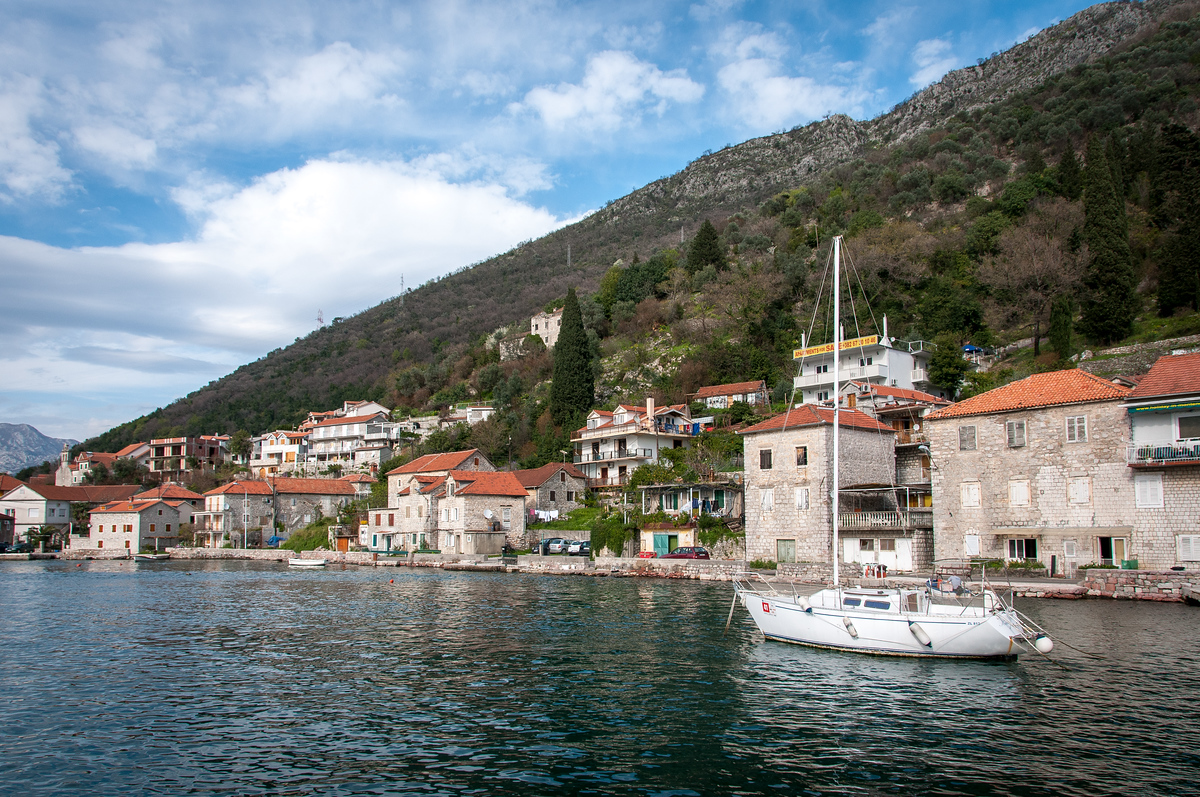 A Sailboat in the Bay of Kotor, Montenegro