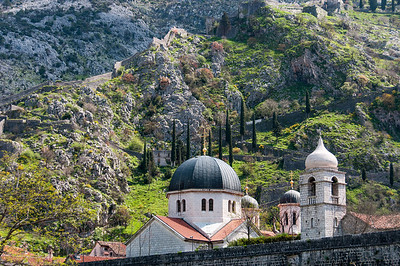 Domes of the Church of St. Luke and the Church of St. Nicholas in Kotor, Montenegro