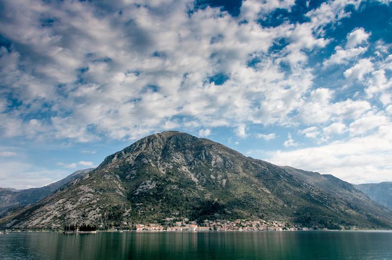 Wide shot of Kotor Bay and mountain in Kotor, Montenegro