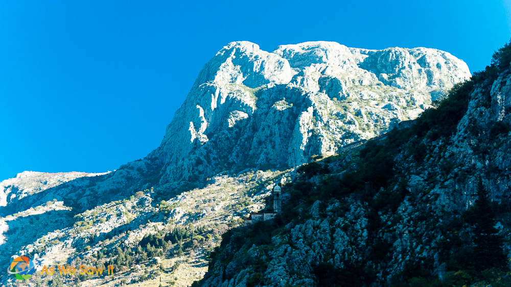 church perched precariously on side of mountain, Bay of Kotor