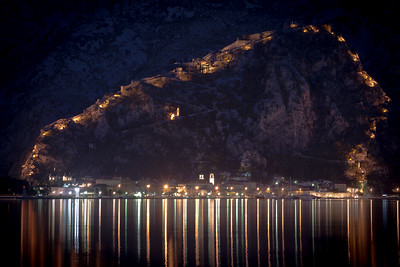 Kotor's City Wall lighted at Night; Montenegro