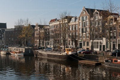 Boats on a canal in Amsterdam, Netherlands