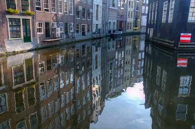 The Singel Canal in Amsterdam, Netherlands