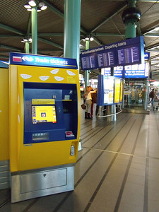 Ticket machine at Amsterdam Schiphol train station.