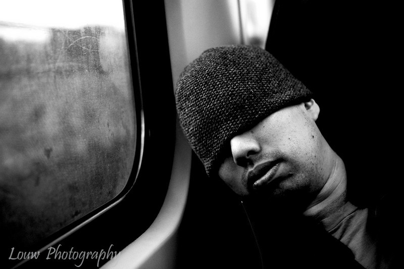 Hobo on the train, Amsterdam, Netherlands