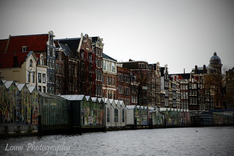 Bloemenmarkt (flower market) from the canal, Amsterdam, Netherlands