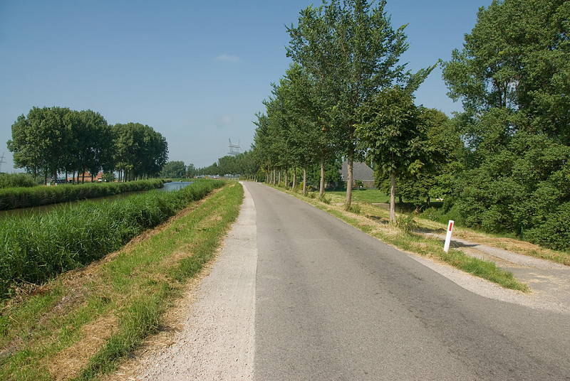 Paved road in Beemster Polder in Netherlands