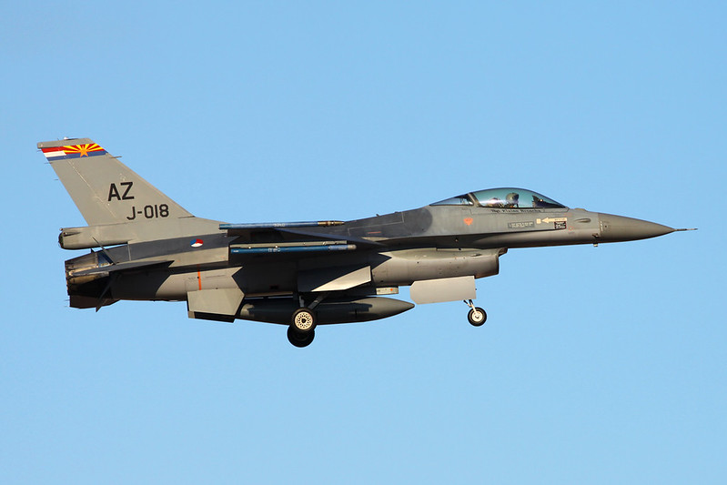 "J-018 (AZ) General Dynamics F-16AM Fighting Falcon ""Royal Netherlands Air Force"" c/n 6D-174 Tucson IAP/KTUS/TUS 14-11-16"