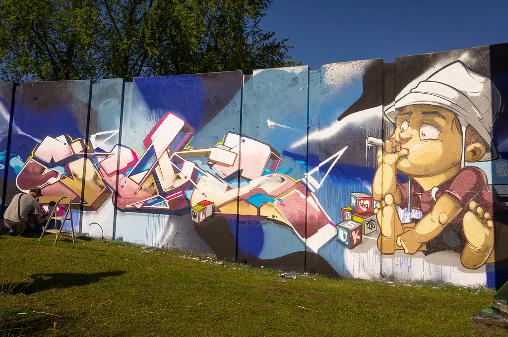 Mural by Hombre at Step in the Arena 2015 in Eindhoven, Netherlands