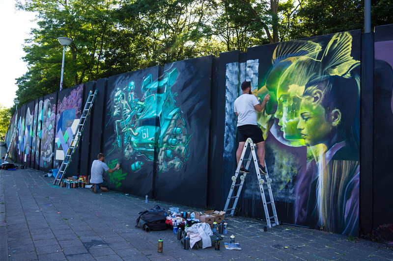 Murals by Telmo Miel & Derm at Step in the Arena 2015 in Eindhoven, Netherlands