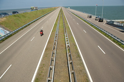 Looking down on the road near the Netherlands Flood Gates