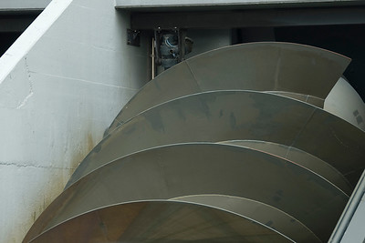 Modern Archimedes' screw in a water pumping station in Kinderdijk, Netherlands
