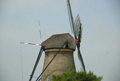 Details of a windmill in Kinderdijk, Netherlands