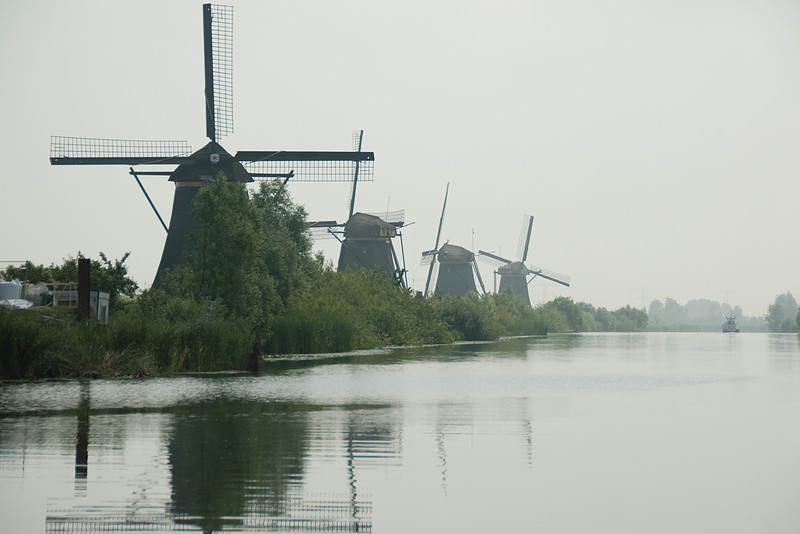 Row of windmills in Kinderdijk, Netherlands