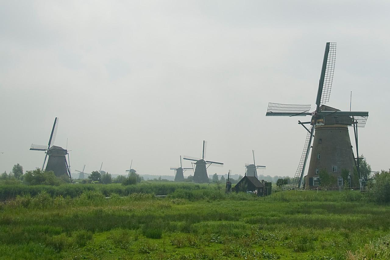 Wide shot of the windmills at Kinderdijk, Netherlands