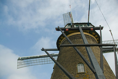 Close-up shot of a windmill in Kinderdijk, Netherlands