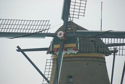 Close-up shot of a windmill in Kinderidjk, Netherlands