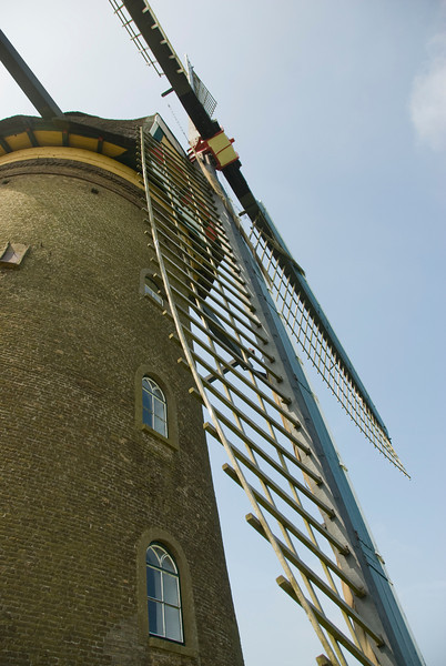 Close-up shot of one of the windmills in Kinderdijk, Netherlands