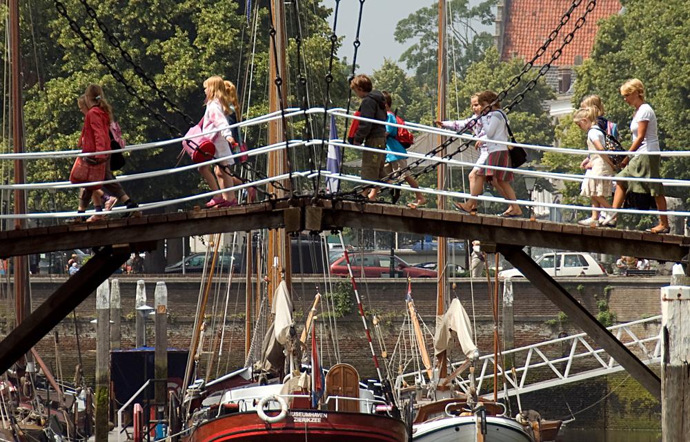 Kids crossing bridge, Netherlands