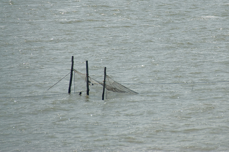 Fish net trap on the sea in Netherlands