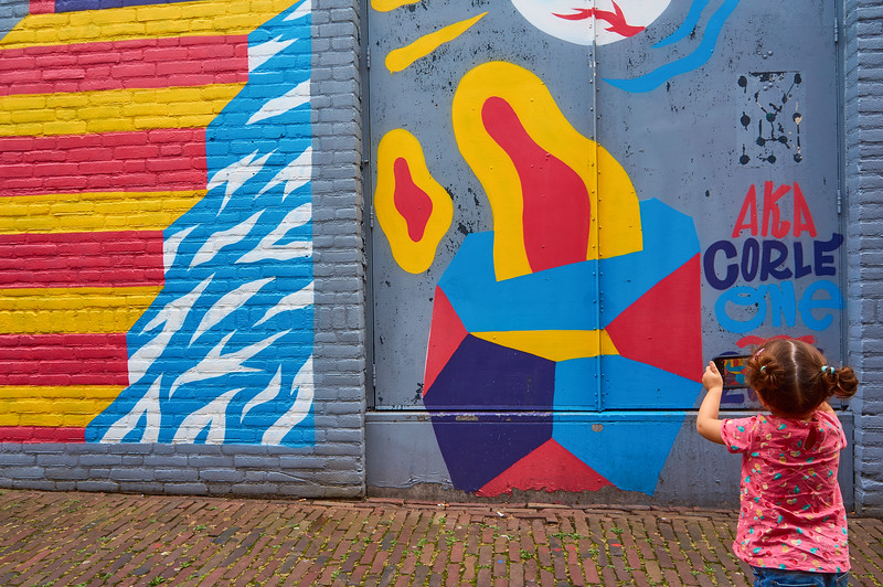 Taking photos of street art in Breda, the Netherlands.