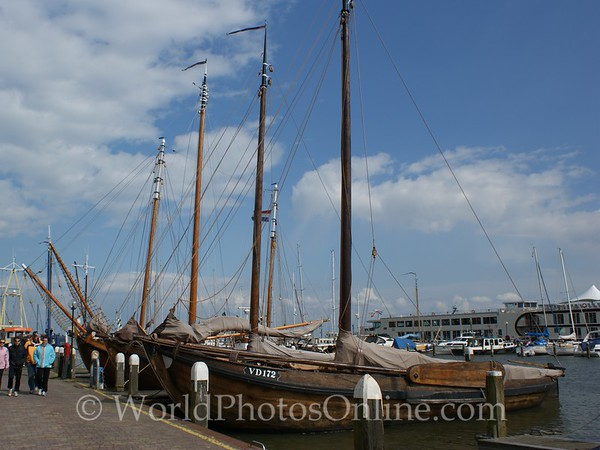 Volendam - Traditional Wood Ships in Harbor
