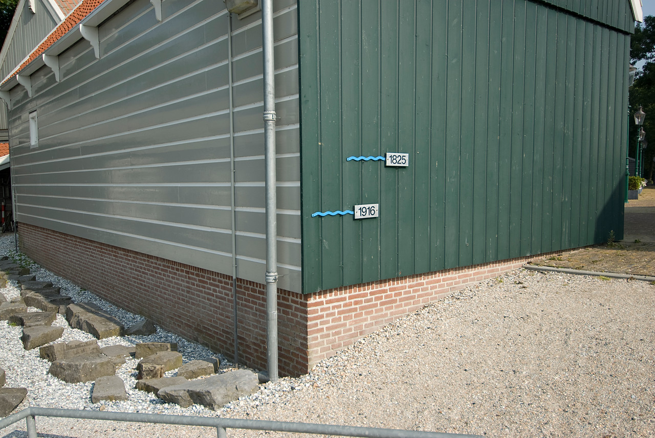 Mark of flood water level on the wall of a building - Schokland, Netherlands