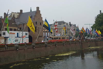 Flags blown near the Hofvijver in The Hague, Netherlands