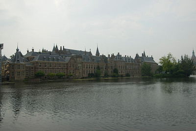 Wide shot of the Binnenhof in The Hague, Netherlands
