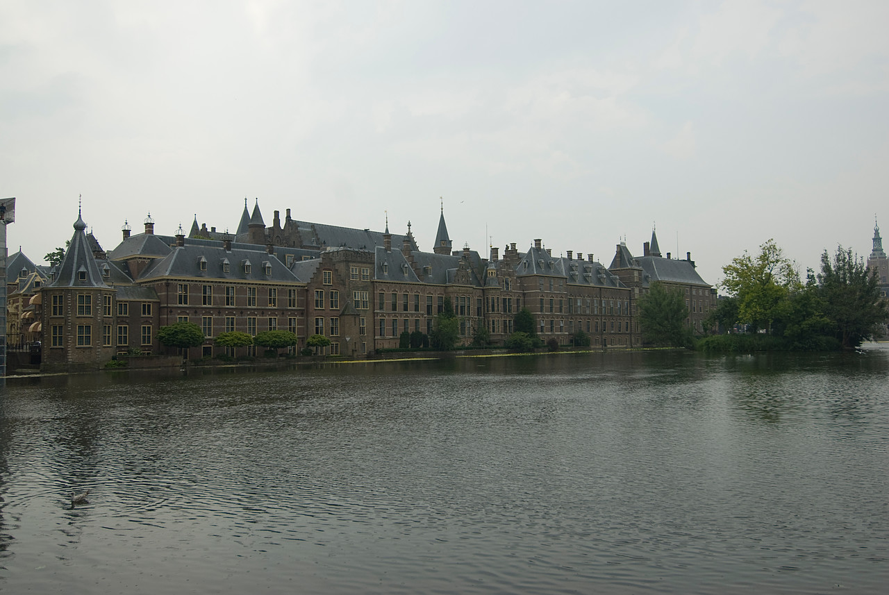 Wide shot of the Binnenhof in The Hague, Netherlands