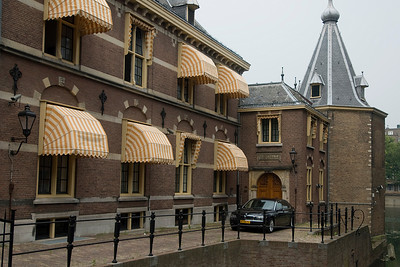 Striped canopies on the offices of inner courtyard in Binnenhof - The Hague, Netherlands