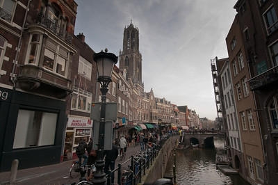 Dom Tower of Utrecht with view of the canal - Utrecht, Netherlands