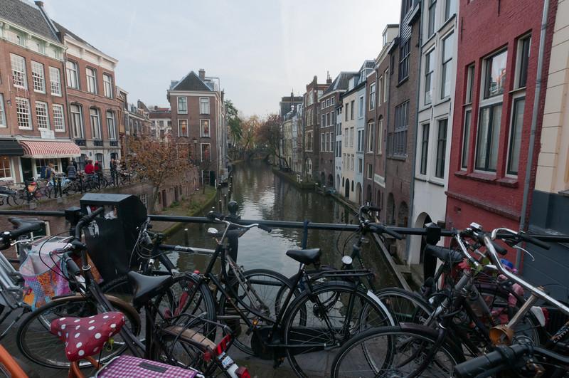 BIkes parked at a bridge in Utrecht, Netherlands
