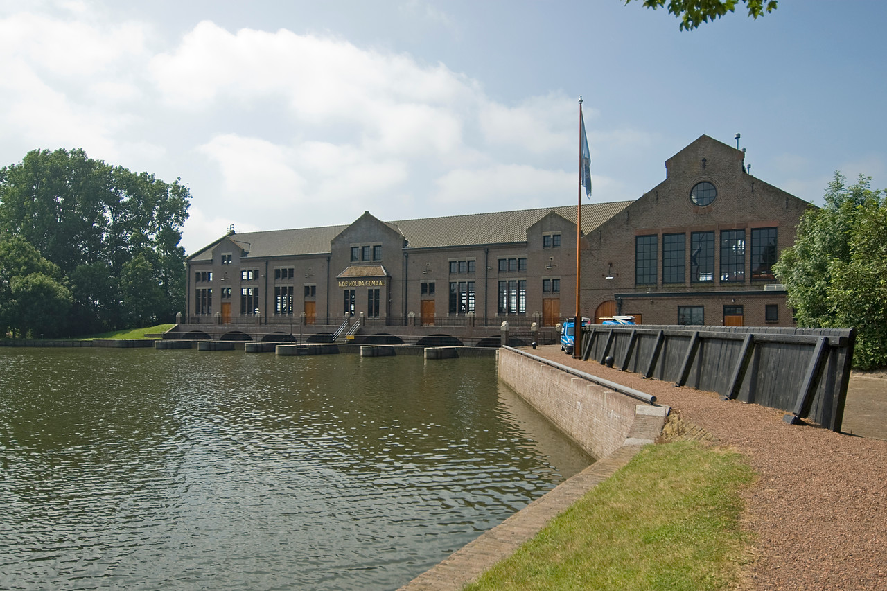 The Wouda Pumping Station facade in Lemmer, Netherlands