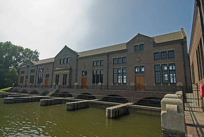 The building facade of Wouda Pumping Station in Lemmer, Netherlands