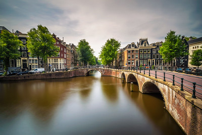 Famous Keizersgracht canal intersection in Amsterdam