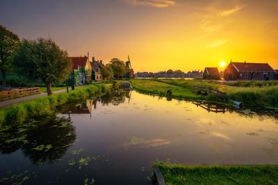 Sunset above the village of Zaanse Schans in the Netherlands