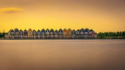 Rainbow Houses at sunset in Houten, Netherlands