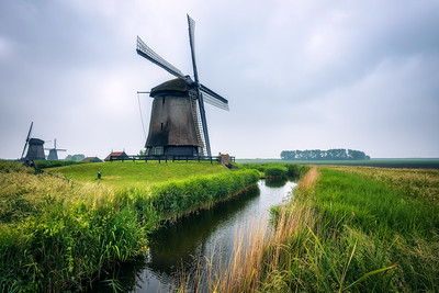 Old dutch windmills in cold morning scenery near Amsterdam