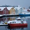 dusk 3 boats Tromso Harbor