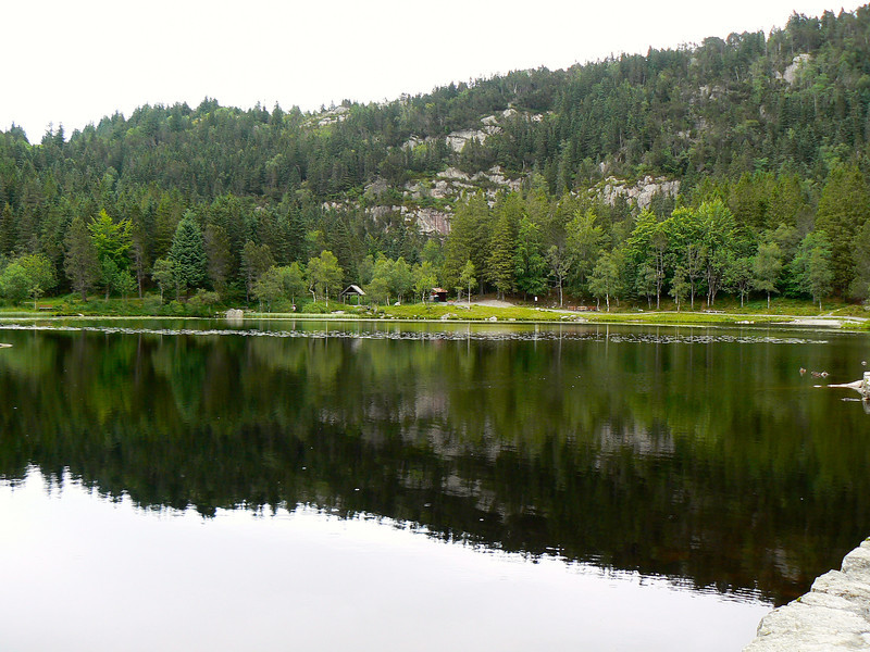 Skomakerdiket Lake on Mount Floyen in Bergen, Norway
