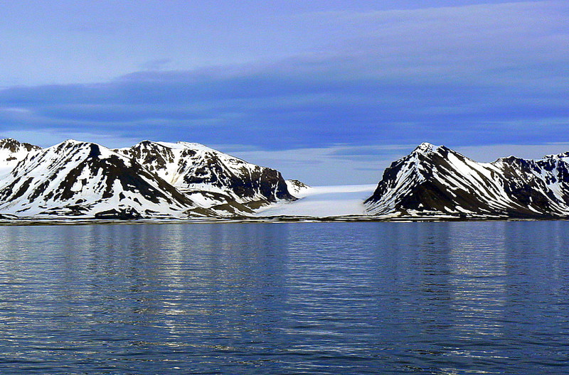 Mountains with glacier near Longyearbyen, Svalbard, Norway
